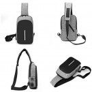 Mens Side Backpack Anti Theft Sling Bag with USB Charging Port Zipper Crossbody Chest Bag with Reflective Strip Grey