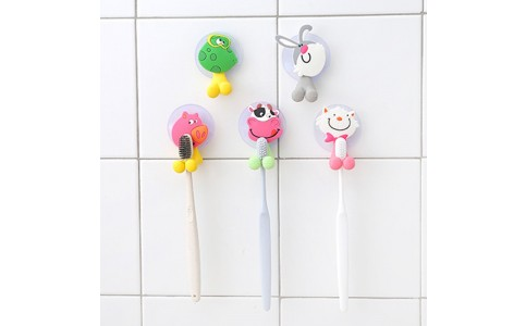 5 X Cute Cartoon Toothbrush Holder with Suction Mounts