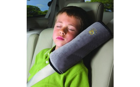 2 X Kids Headrest Pillow for Car Seat Belt Grey