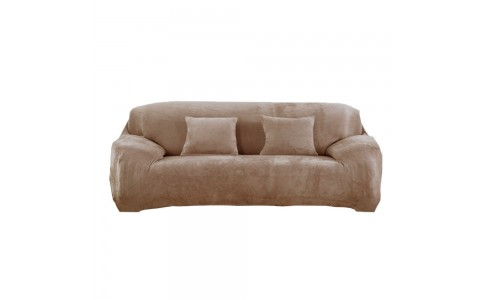Four Seaters Fleeced Sofa Cover Camel