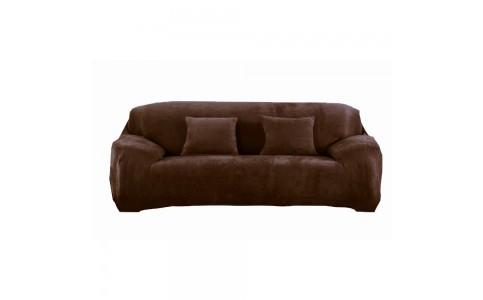 Four Seaters Fleeced Sofa Cover Coffee
