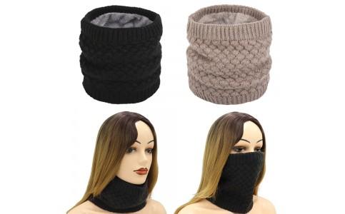 2 X Women Winter Neck Warmer Knitted Fleece-Lined Head Neck Warmer Black Khaki