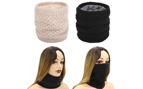 2 X Women Winter Neck Warmer Knitted Fleece-Lined Head Neck Warmer Black Beige