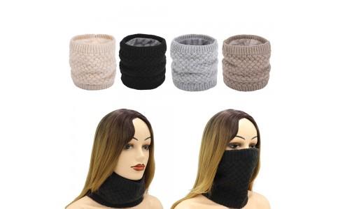4 X Women Winter Neck Warmer Knitted Fleece-Lined Head Neck Warmer Set A