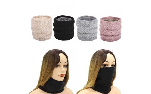 4 X Women Winter Neck Warmer Knitted Fleece-Lined Head Neck Warmer Set B