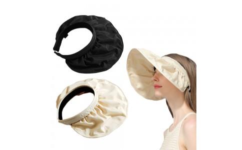 2 X Black Beige 2 in 1 Sun Visor Hats Hair Band Headbands