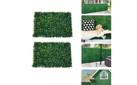 2Pcs 40x60cm Artificial Grass Wall Panel Fence Decor Hedge Mat Fake Plant Wall Decor