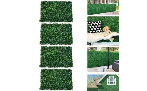4Pcs 40x60cm Artificial Grass Wall Panel Fence Decor Hedge Mat Fake Plant Wall Decor