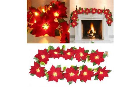 2 X Red Flowers String Light Christmas LED Light String Xmas Fake Flowers Lights