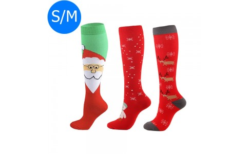 3 X Christmas Themed Knee-Length Compression Socks S M Style 4 3 6