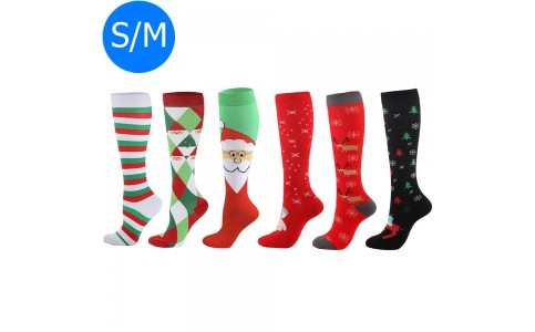 6 X Christmas Themed Knee-Length Compression Socks S M