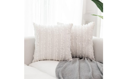 2PCS 45 x 45CM Home Decorative Tassels Design Boho Throw Pillow Cases Cotton Linen Striped Cushion Covers for Sofa Couch Living Room Bedroom White