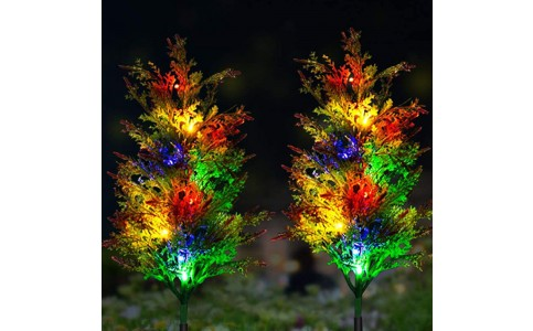 2 X Solar Powered Christmas Lamps Pine Lights Xmas Decoration for Garden Lawn Landscaping