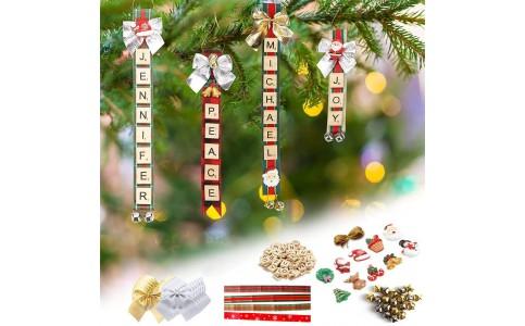 160Pcs DIY Christmas Tree Ornaments Kit Name Tags Hanging Xmas Decor Set
