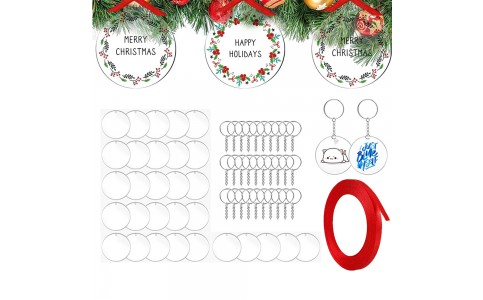 30Pcs Round Shape DIY Clear Acrylic Boards Christmas Keychains Xmas Signs Display