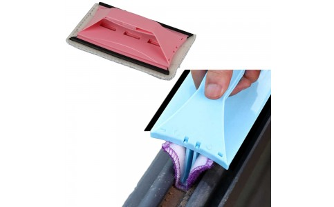 2 X Blue Pink 3 In 1 Window Groove Gap Cleaning Brush with 12 Cleaning Cloth