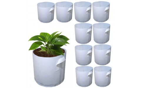 10Pcs L Biodegradable Non-woven Fabric Plants Nursery Grow Bags Seedling Pots with Handle