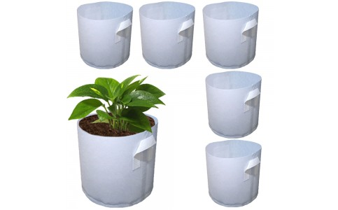 5Pcs L Biodegradable Non-woven Fabric Plants Nursery Grow Bags Seedling Pots with Handle