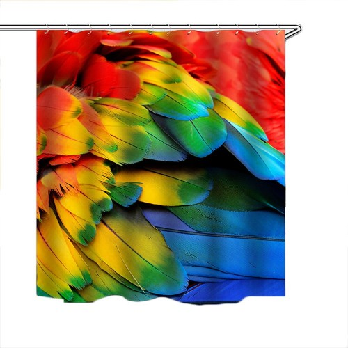 180x180CM Colorful Feathers Polyester Shower Curtain Style 3