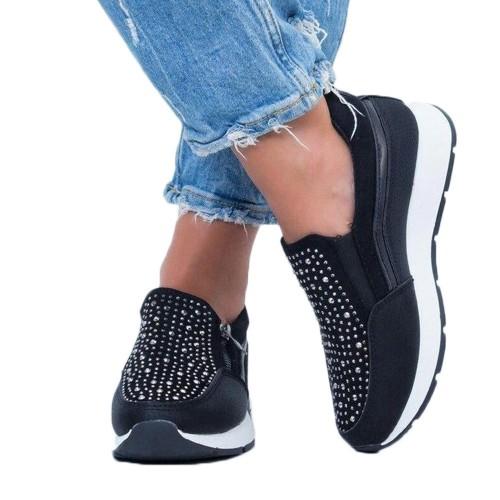 Women Rhinestone Platform Shoes Black