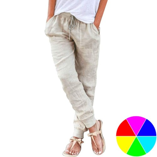 Women Linen Solid Color Trousers Drawstring Casual Linen Pants