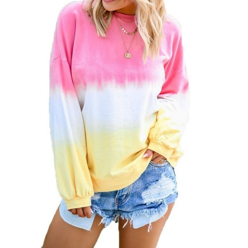 Womens Casual Crewneck Long Sleeve Gradient Contrast Pullover Blouse Tops Loose Sweatshirts Pink
