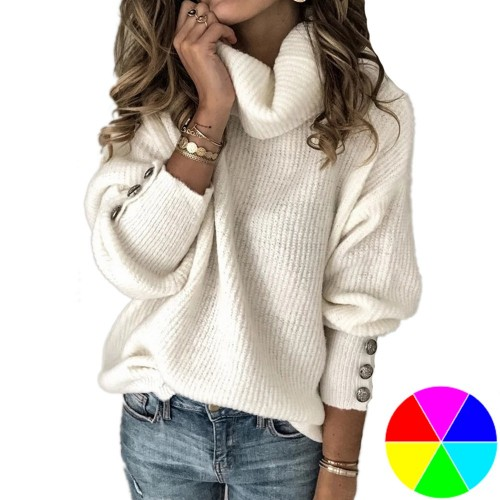 Women High Collar Button Sleeve Sweater