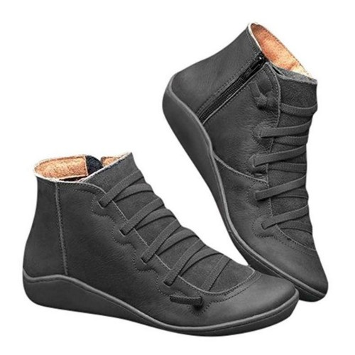 Women Arch Support Ankle Booties with Side Zipper Black