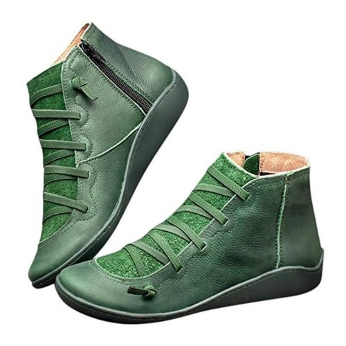 Women Arch Support Ankle Booties with Side Zipper Green