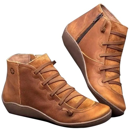 Women Arch Support Ankle Booties with Side Zipper Brown