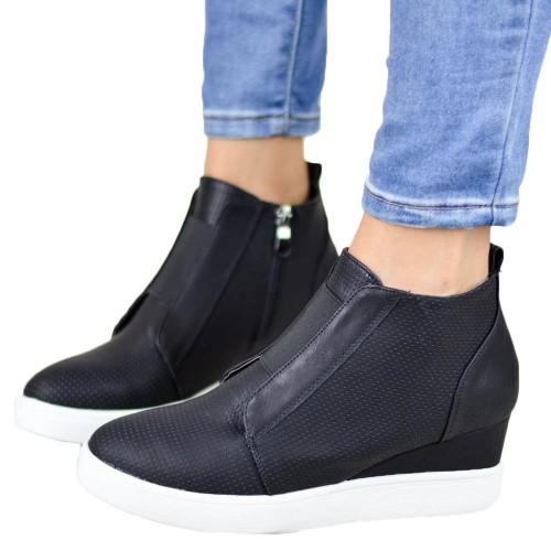 Women High Thick Heel Side Zipper Boots Black