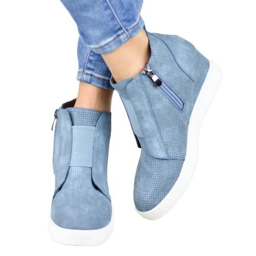 Women High Thick Heel Side Zipper Boots Blue