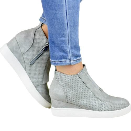 Women High Thick Heel Side Zipper Boots Grey