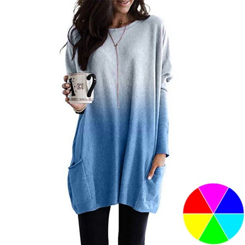Gradient Long Sleeve T Shirt with Pockets