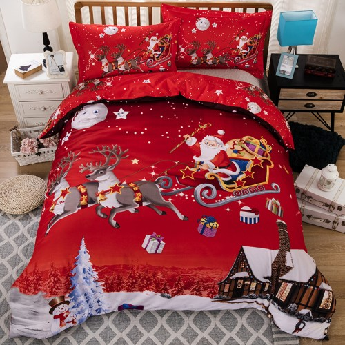 3PCS Merry Christmas Santa Claus Comfort Bedding Set