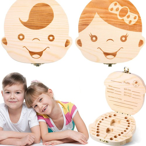 2 PCS Kids and Baby Tooth Keepsake Boxes-Girl and Boy