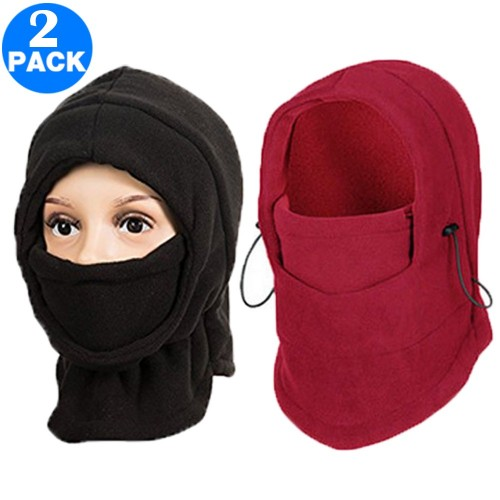 2 Pack Unisex Winter Windproof Hats Black and Wine Red