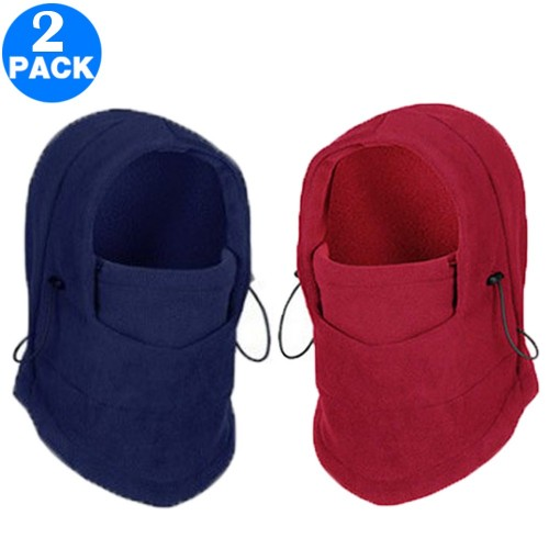 2 Pack Unisex Winter Windproof Hats Wine Red and Navy
