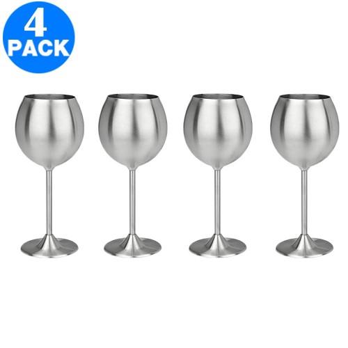 4 X Stainless Steel Stemmed Wine Glasses