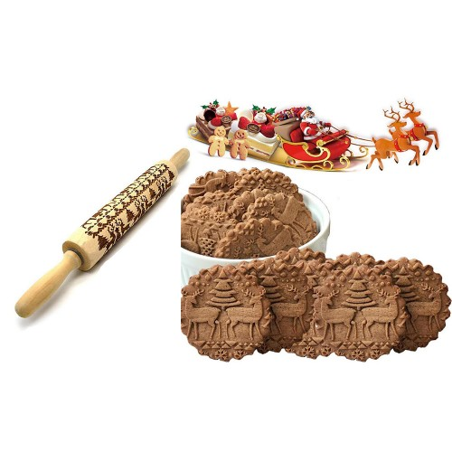 35cm Christmas Embossed Rolling Pin