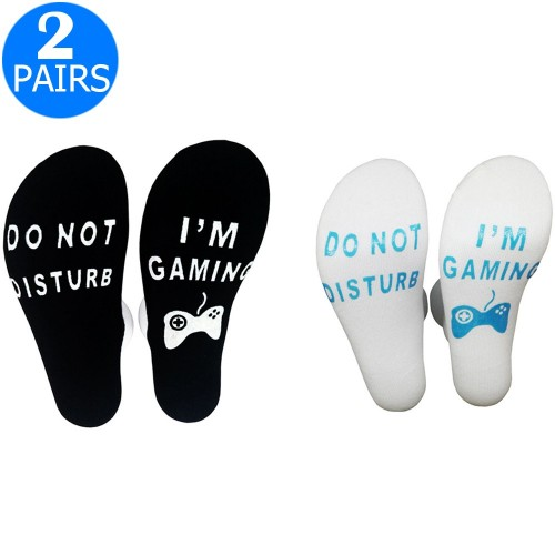 2 Pairs of Mens Funny Do Not Disturb I'm Gaming Socks One Size Style 1 and Style 4
