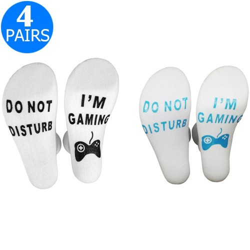 4 Pairs of Mens Funny Do Not Disturb I'm Gaming Socks One Size Style 3 and Style 4