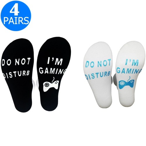 4 Pairs of Mens Funny Do Not Disturb I'm Gaming Socks One Size Style 1 and Style 4