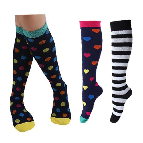Three Pairs of Unisex Women Men Large Knee-Length Printed Compression Socks