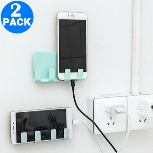 2 X Wall Mounted Phone Holders with Hooks Blue and Green