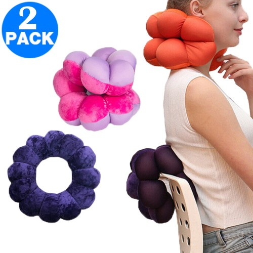 2 Pack Adjustable Multifunction Pillows for Neck and Lumbar Supports Purple and Rose Red