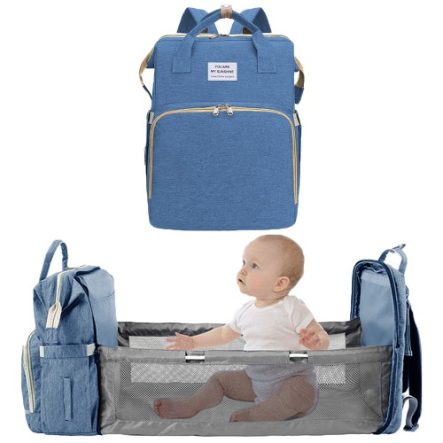 Foldable Large Capacity Mommy Backpack Diaper Bag with Baby Bed Blue