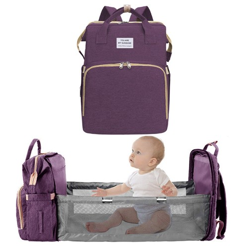 Foldable Large Capacity Mommy Backpack Diaper Bag with Baby Bed Purple