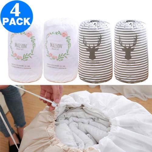 4 Pack Drawstring Quilt Organizer Bags Strip Elk Flower Loop