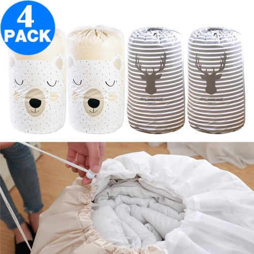 4 Pack Drawstring Quilt Organizer Bags Strip Elk Bear